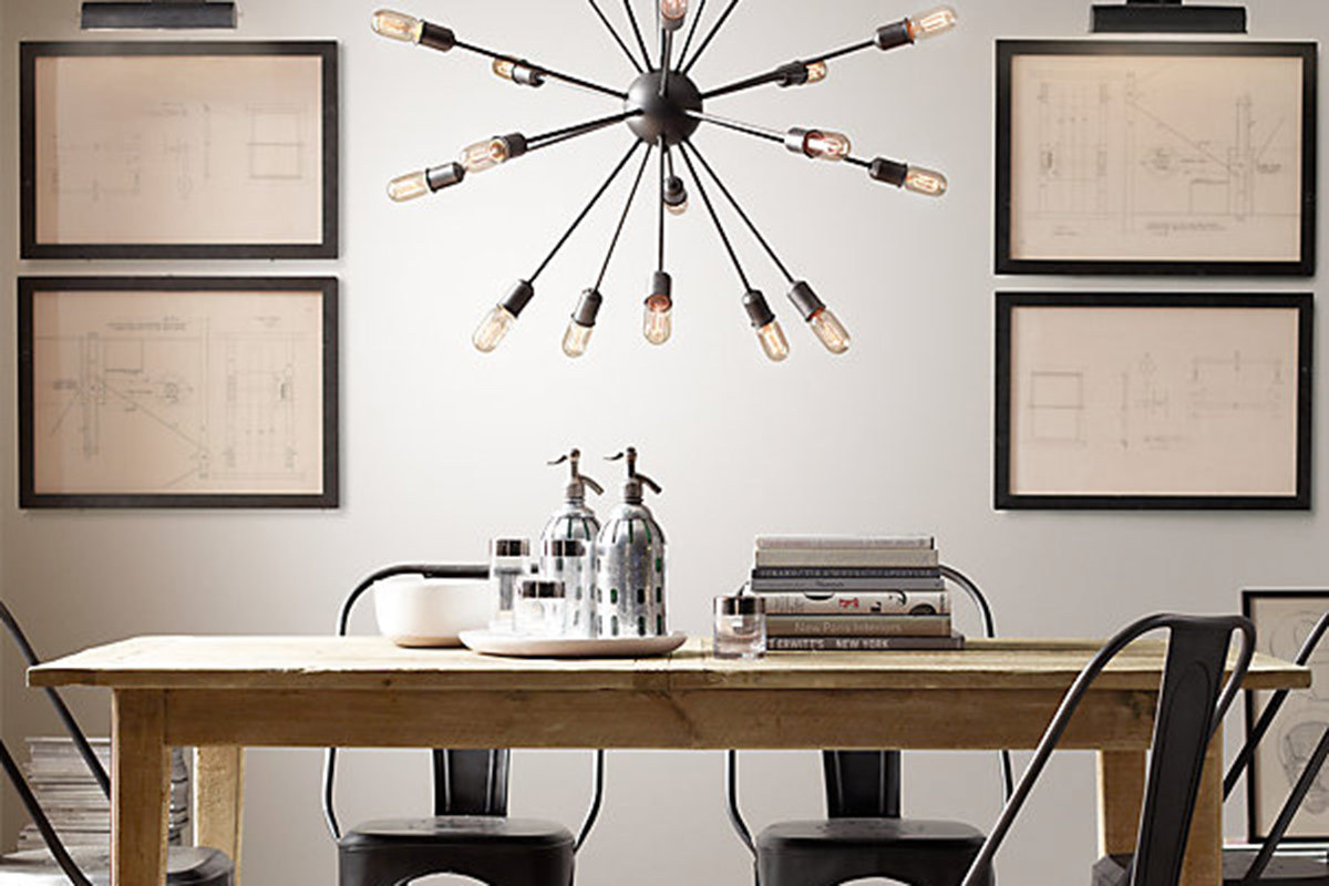 Sputnik chandelier dining room - Sputnik Filament Chandelier From Restoration Hardware