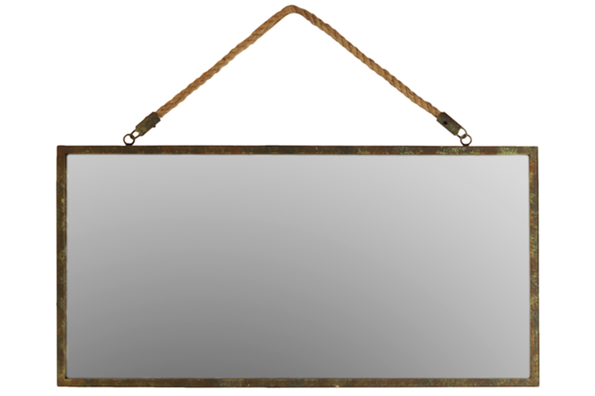 make your space a little more rustic with metal framed wall mirror which hangs from a rope it can be ordered from overstockcom for 85 and it will be sure