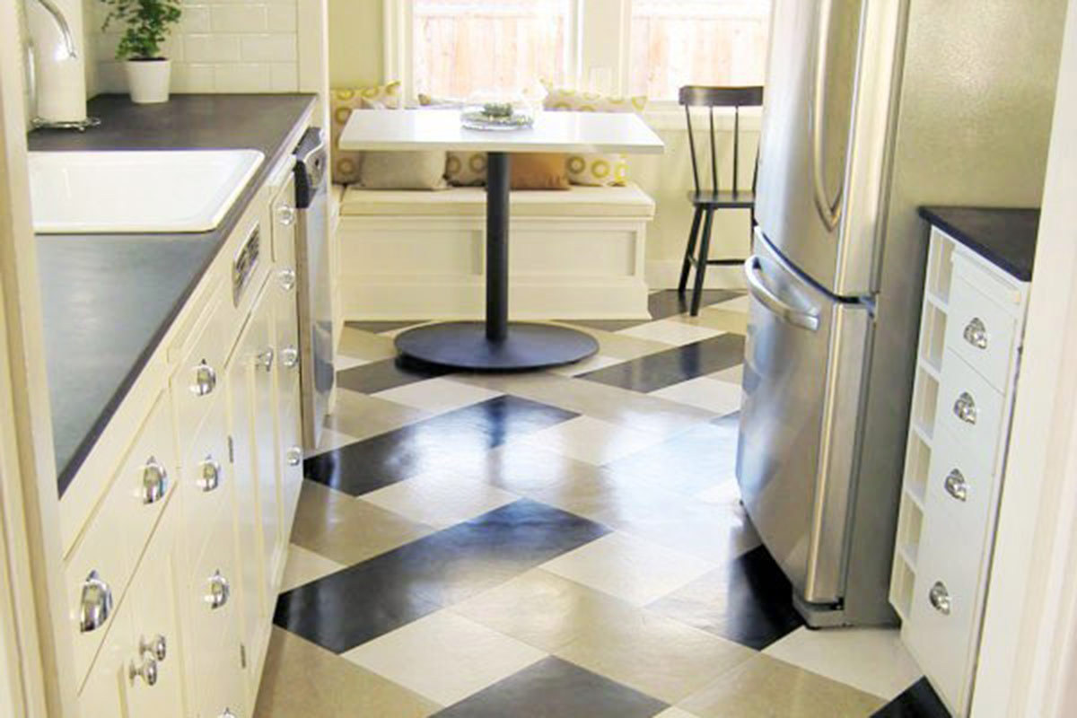 Steps For Painting Vinyl And Linoleum Floors - Clear coat for tile floors