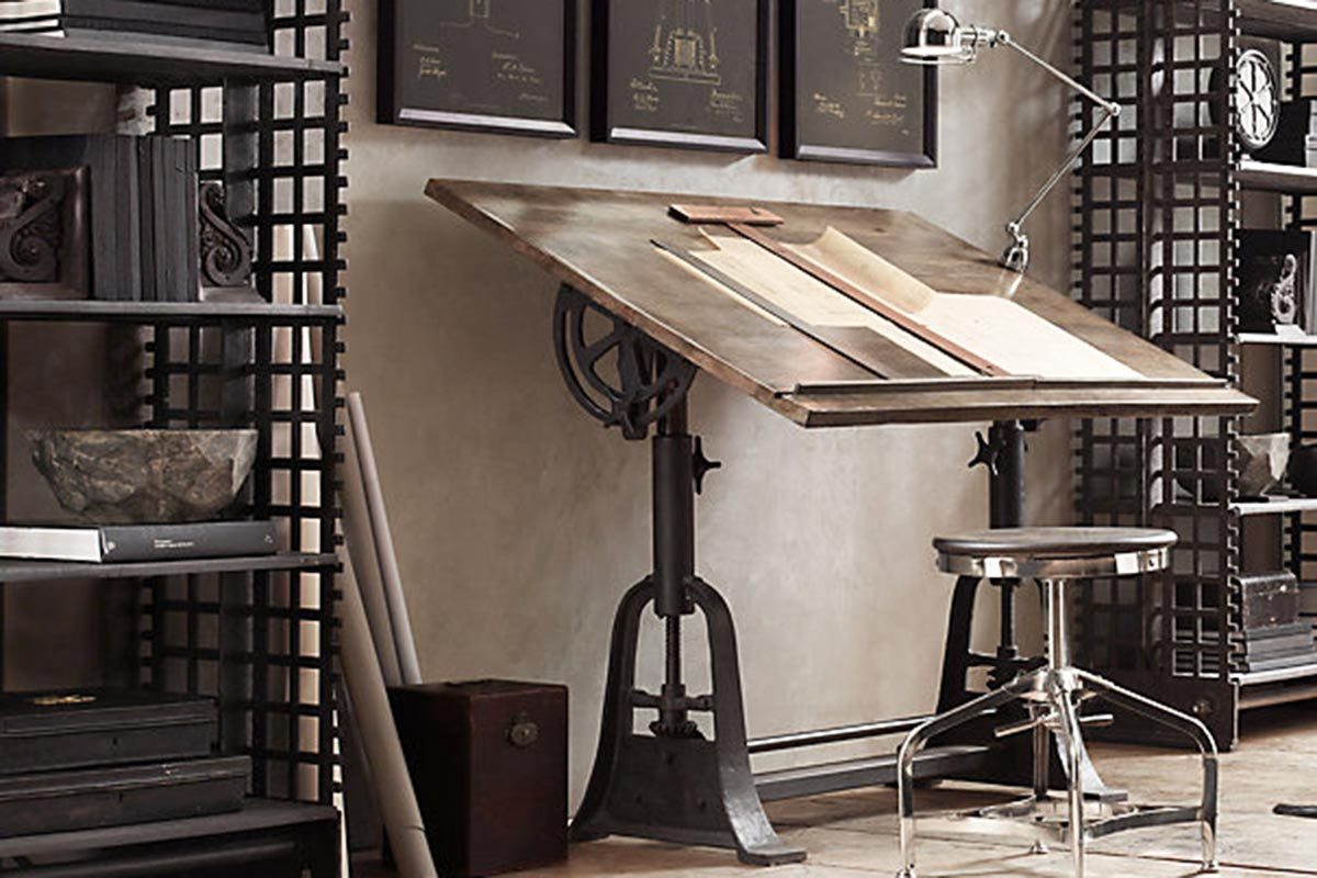 1. 1910 American Trestle Drafting Table From Restoration Hardware