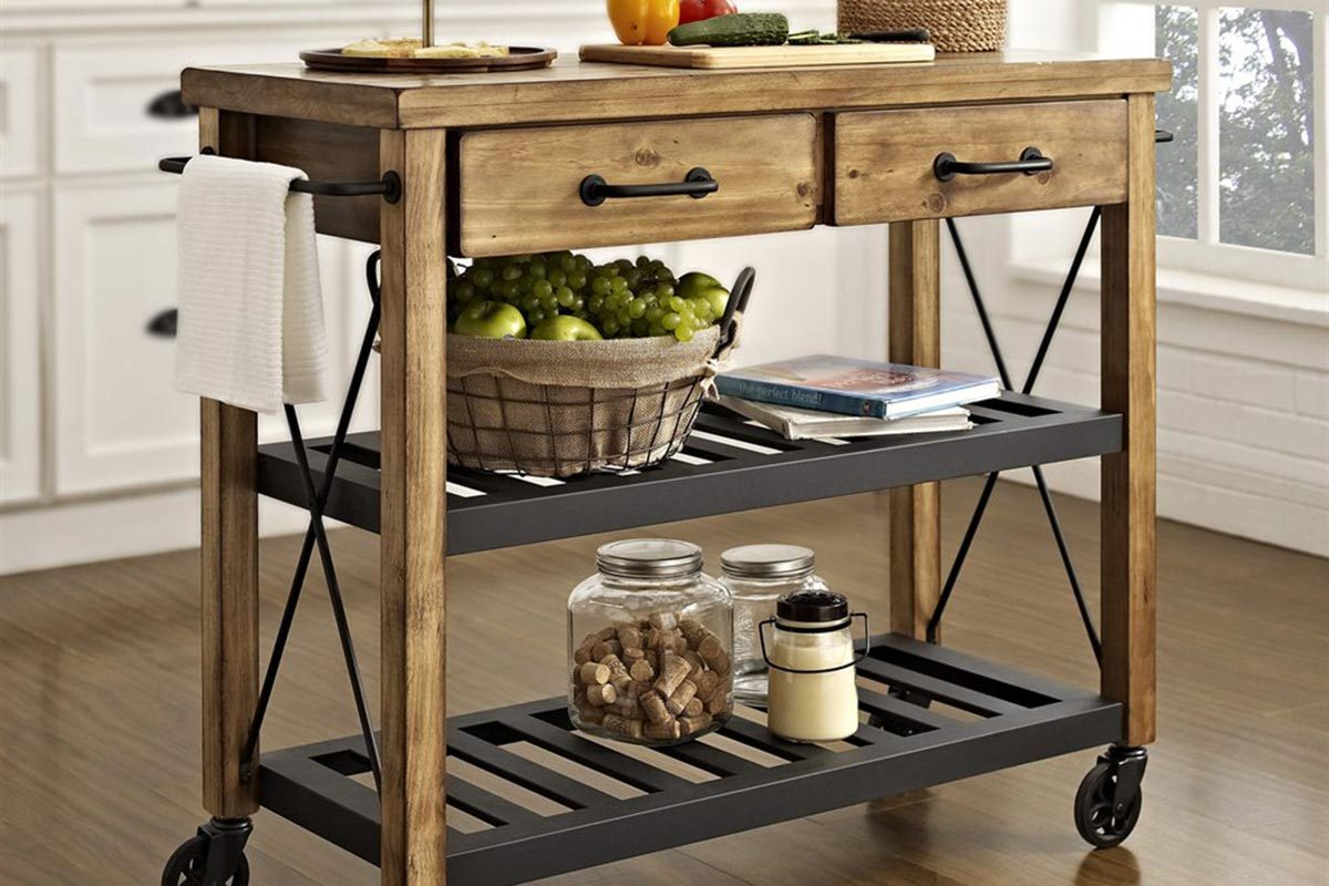 Uncategorized Wrought Iron Kitchen Island 6 portable kitchen islands to solve your small woes crosley roots rack industrial cart from lowes