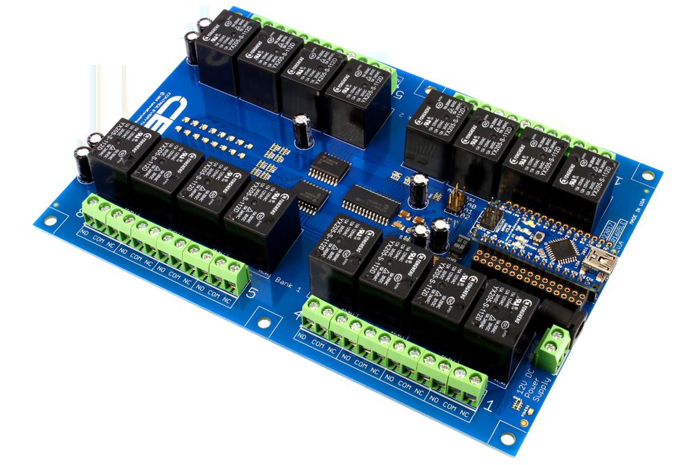 Relay Shield for Arduino Nano I2C 16-Channel SPDT 10-Amp