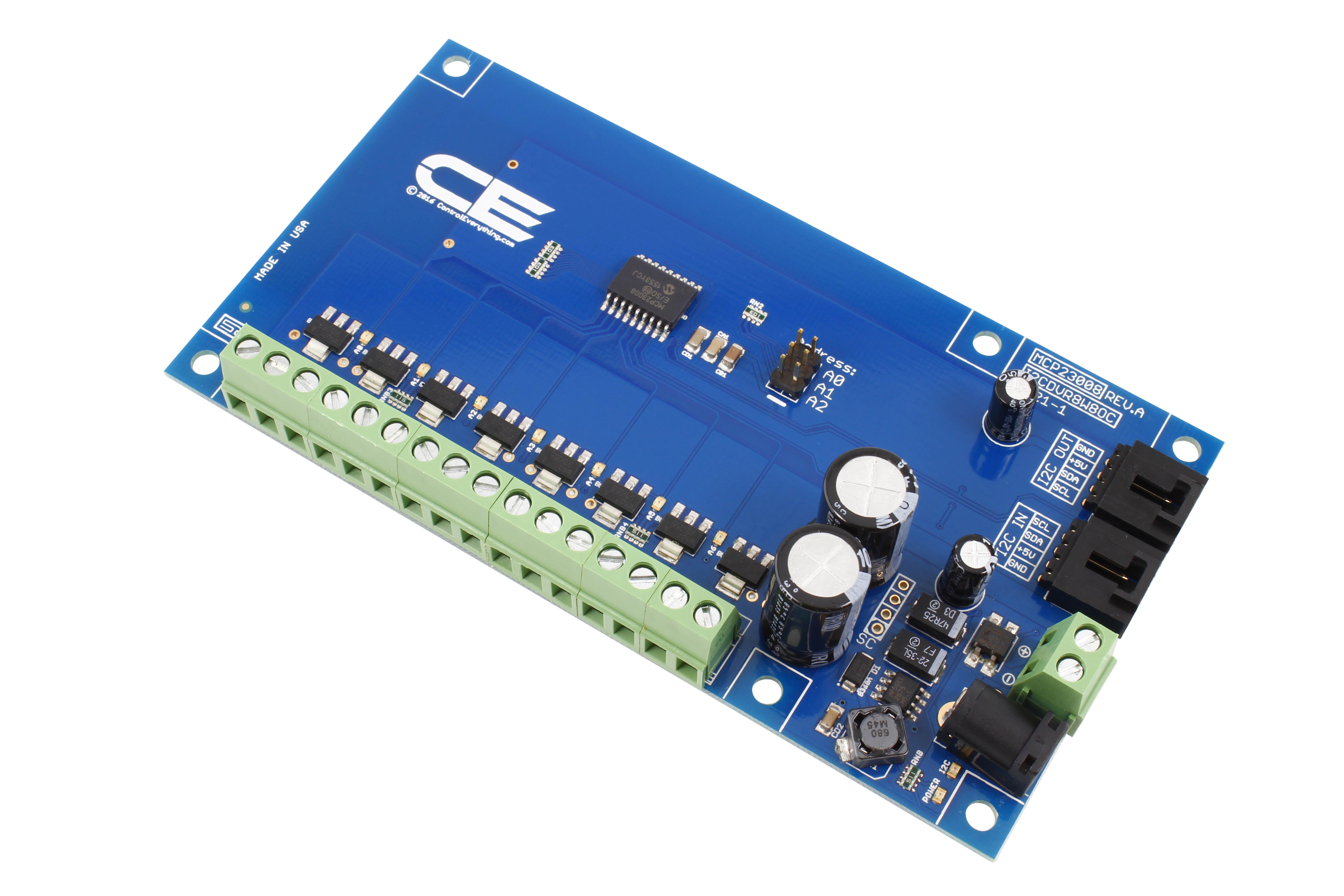 MCP23008 8-Channel 8W Open Collector FET Driver with Cross-Platform I2C Interface