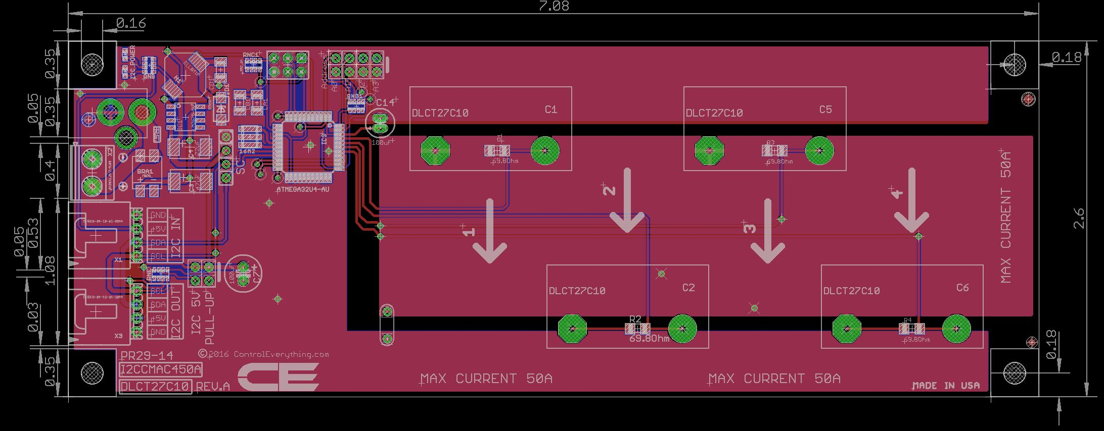 4 channel on board ac current monitor for i2c