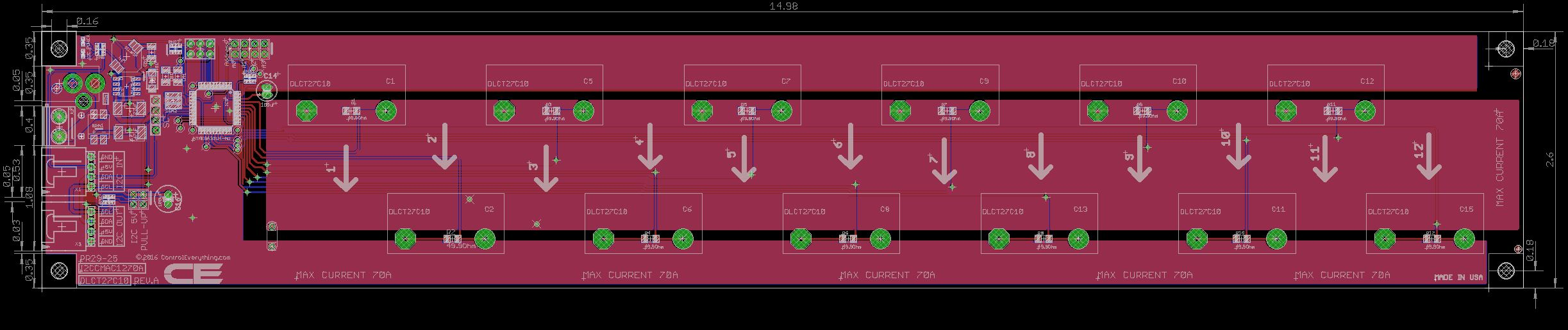 12 channel on board ac current monitor for i2c