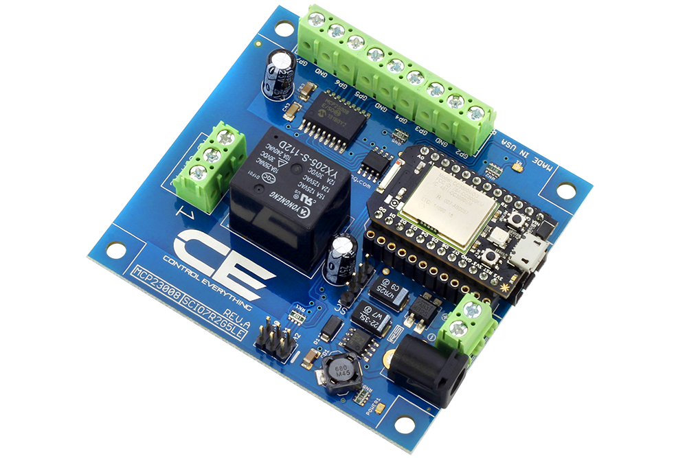 High-Power Relay Shield for Particle Photon I2C 1-Channel SPDT 10-Amp with WiFi and USB Interface + 7 Programmable GPIO