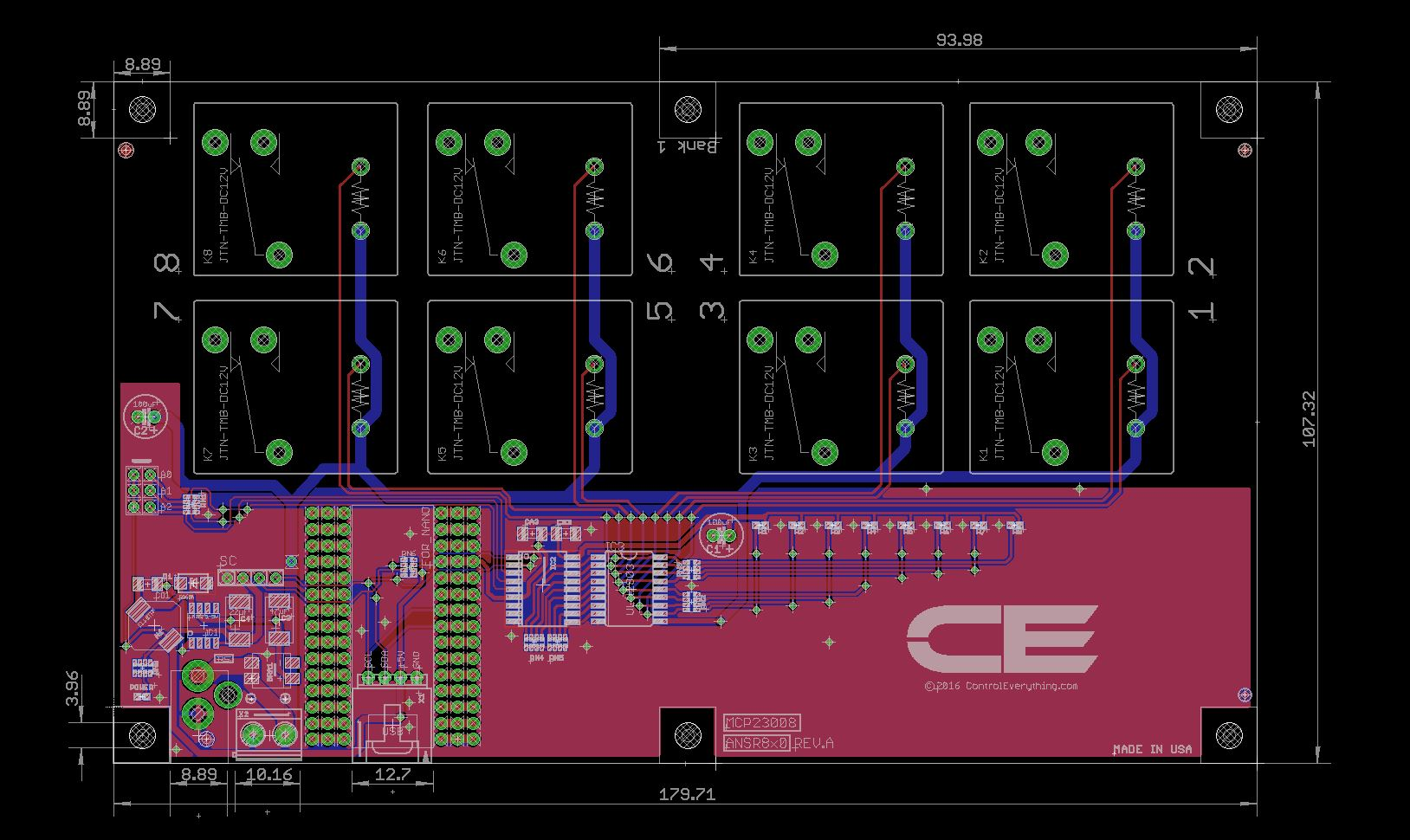 8 Channel Relay Controller For Arduino Nano Dpdt Mechanical Drawing
