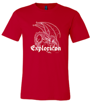 Exploricon dragon logo on a red t-shirt