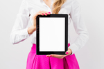 Bigstock business woman showing tablet  83849852