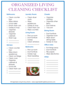Snap organized living cleaning checklist compressed