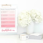 Weekly cleaning checklist on clipboard