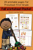 Fall worksheet packet for preschool   first grade