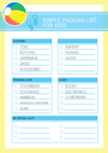 Simple packing list kids