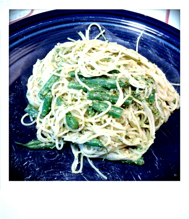 Capellini with Pistachio-Mint-Kale Pesto and Green Beans by alchemisty