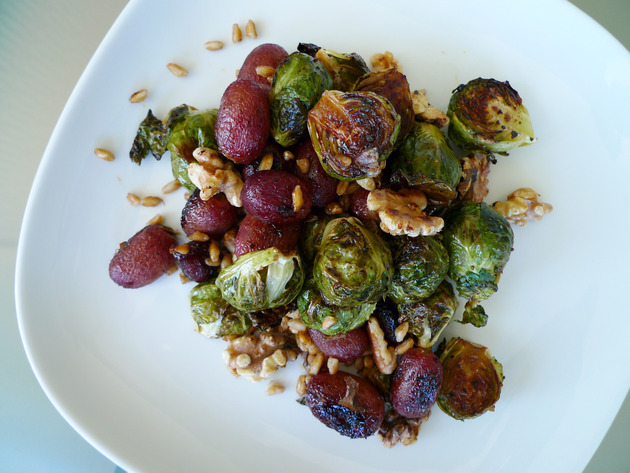 roasted brussels sprouts and grapes with farro by joanie