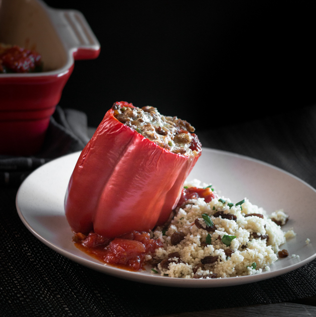 Turkey and Lentil Stuffed Bell Peppers with Tomato Sauce by Blogtastic Food