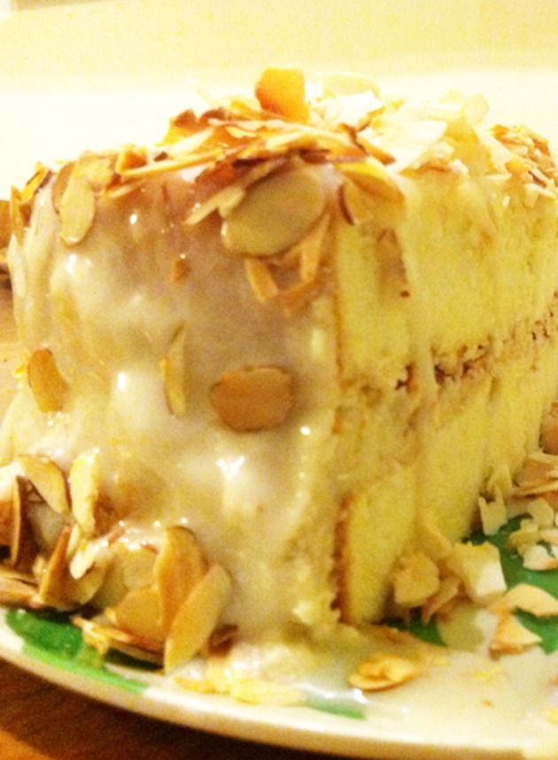 Coconut Cake with Banana Buttercream Filling by missionkitchen