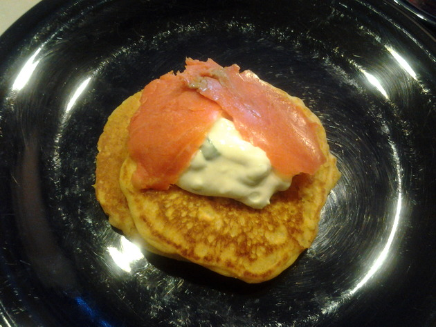 corn pancakes with smoked salmon and green onion sour cream by alchemisty