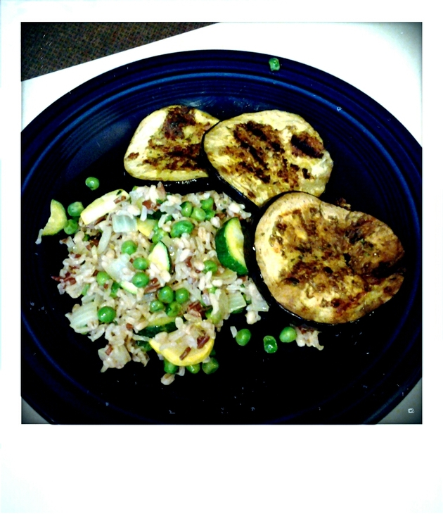 Cilantro Brown Rice Pilaf with Herb-breaded Grilled Eggplant by alchemisty