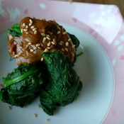 spinach with peanut dressing by joanie