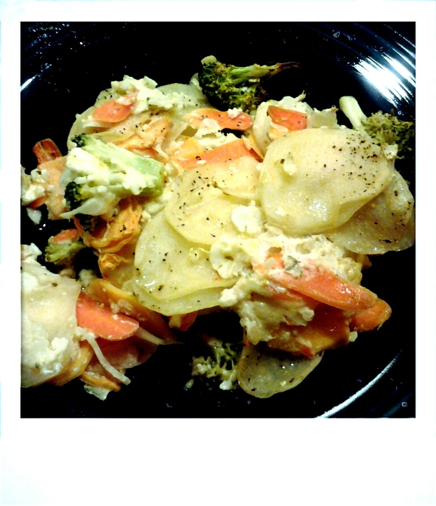 scalloped root vegetables with broccoli and gouda by alchemisty