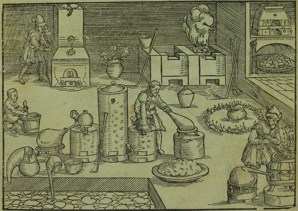 A sketch depicts 4 people stirring and handling chemicals. The chemicals are held in a variety of barrels and large cylinders. Several of the containers are being heated over burning embers. A large stove in the laboratory is filled with burning embers. There is also a large chest in the corner that is producing steam.