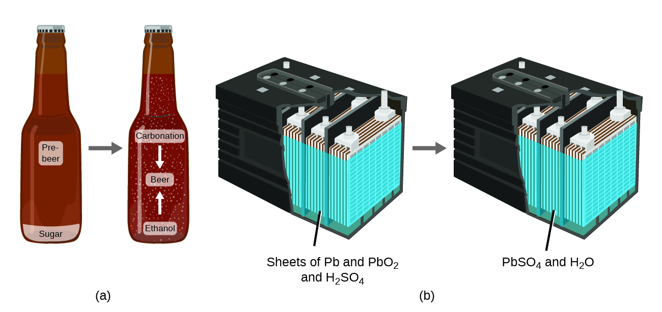 Diagram A shows a beer bottle containing pre-beer and sugar. An arrow points from this bottle to a second bottle. This second bottle contains the same volume of liquid, however, the sugar has been converted into ethanol and carbonation as beer was made. Diagram B shows a car battery that contains sheets of P B and P B O subscript 2 along with H subscript 2 S O subscript 4. After the battery is used, it contains an equal mass of P B S O subscript 4 and H subscript 2 O.