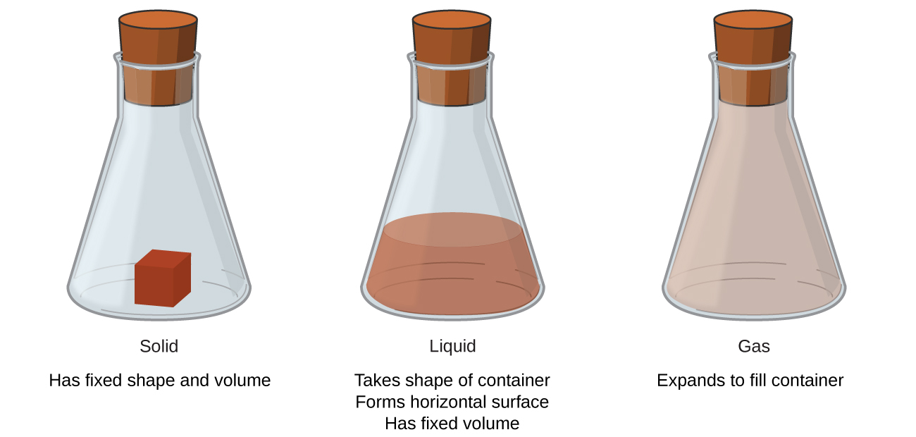 A beaker labeled solid contains a cube of red matter and says has fixed shape and volume. A beaker labeled liquid contains a brownish-red colored liquid. This beaker says takes shape of container, forms horizontal surfaces, has fixed volume. The beaker labeled gas is filled with a light brown gas. This beaker says expands to fill container.