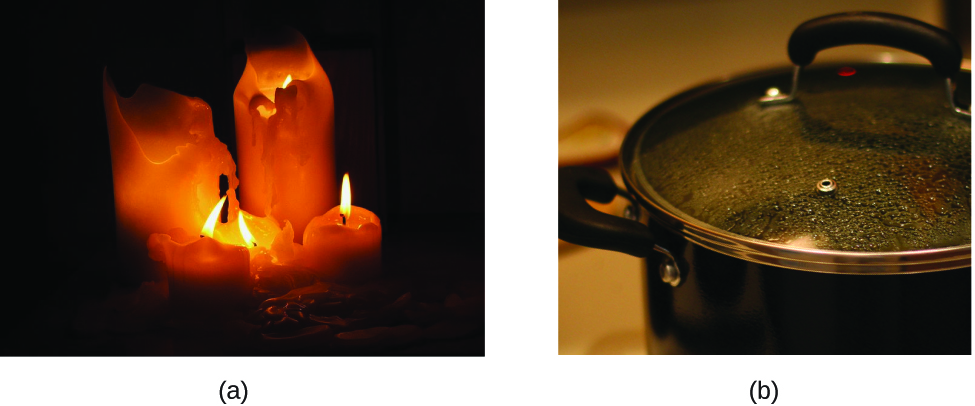 Figure A is a photograph of 5 brightly burning candles. The wax of the candles has melted. Figure B is a photograph of something being heated on a stove in a pot. Water droplets are forming on the underside of a glass cover that has been placed over the pot.