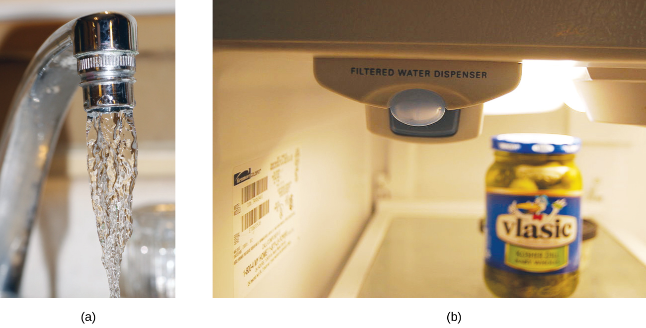 """Two pictures are shown labeled a and b. Picture a is a close-up shot of water coming out of a faucet. Picture b shows a machine with the words, """"Filtered Water Dispenser."""" This machine appears to be inside a refrigerator."""
