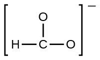 A Lewis structure shows a carbon atom single bonded to two oxygen atoms and a hydrogen atom. The structure is surrounded by brackets and there is a superscripted negative sign.