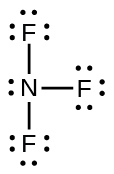 A Lewis structure shows a nitrogen atom with one lone pair of electrons single bonded to three fluorine atoms, each with three lone pairs of electrons.