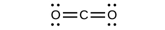 This structure shows a carbon atom double bonded to two oxygen atoms, each of which has two lone pairs of electrons.