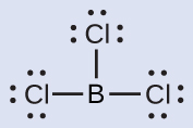 A Lewis structure depicts a boron atom that is single bonded to three chlorine atoms, each of which has three lone pairs of electrons.