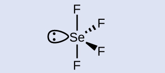 A Lewis structure is shown in which four fluorine atoms are each attached to one sulfur atom. Two of the attached fluorine atoms are vertically attached up and down, while two are attached into and out of the page to the right. The sulfur also has one lone pair of electrons attached to the left of the structure.