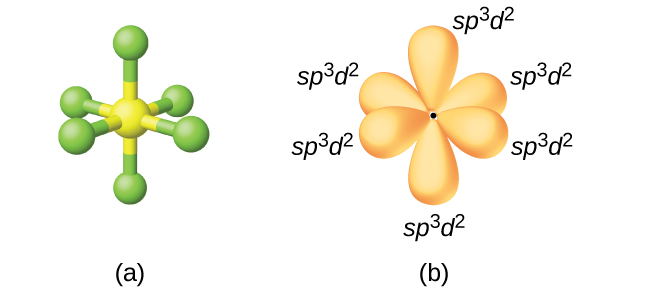 """Two images are shown and labeled """"a"""" and """"b."""" Image a depicts a ball-and-stick model in an octahedral arrangement. Image b depicts the hybrid orbitals in the same arrangement and each is labeled, """"s p superscript three d superscript two."""""""