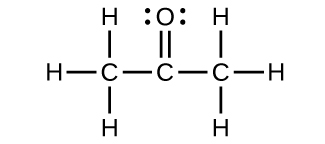A Lewis structure is shown in which a carbon atom is single bonded to three hydrogen atoms and a second carbon atom. This second carbon atom is, in turn, double bonded to an oxygen atom with two lone pairs of electrons. The second carbon atom is also single bonded to another carbon atom that is single bonded to three hydrogen atoms.