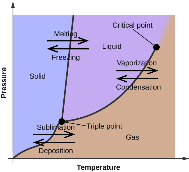 """A graph is shown where the x-axis is labeled """"Temperature"""" and the y-axis is labeled """"Pressure."""" A line extends from the lower left bottom of the graph sharply upward to a point that is a third across the x-axis. A second line begins at the lower third of the first line at a point labeled """"triple point"""" and extends to the upper right corner of the graph where it is labeled """"critical point."""" The two lines bisect the graph area to create three sections, labeled """"solid"""" near the top left, """"liquid"""" in the top middle and """"gas"""" near the bottom right. A pair of horizontal arrows, one left-facing and labeled """"deposition"""" and one right-facing and labeled"""" sublimation,"""" are drawn on top of the bottom section of the first line. A second pair of horizontal arrows, one left-facing and labeled """"freezing"""" and one right-facing and labeled """"melting"""", are drawn on top of the upper section of the first line. A third pair of horizontal arrows, one left-facing and labeled """"condensation"""" and one right-facing and labeled """"vaporization,"""" are drawn on top of the middle section of the second line."""