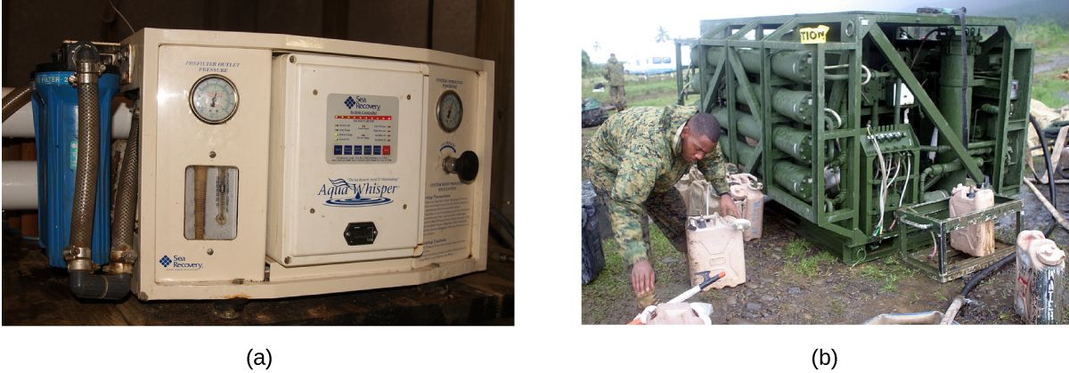 This figure shows two photos of reverse osmosis systems. The first is a small system that appears easily portable. The second is larger and situated outdoors.