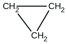 A structural formula for cyclopropane is shown. Three C H subscript 2 groups are positioned as vertices of an equilateral triangle connected with single bonds represented by line segments.