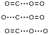 This figure shows three rows of structures. In the first row, an O atom on the left is connected to a C atom on its right with a double bond indicated by a pair of short parallel line segments. To the right of the C atom are three dots in a horizontal row followed by an O atom double bonded to another O atom on its right. In the second row, an O atom is followed by three dots in a horizontal row, which are followed by a C atom and a second grouping of three dots. To the right is an O atom double bonded to another O atom. In the third row, an O atom on the left is connected to a C atom on its right with a double bond indicated by a pair of short parallel line segments. To the right of the C atom are three dots in a horizontal row followed by an O atom followed by another grouping of three dots to another O atom on its right.