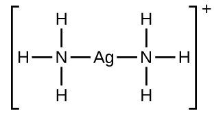 A structure is shown in brackets. The structure has a central A g atom to which N atoms are single bonded to the left and right. Each of these atoms N atom has H atoms single bonded above, below, and to the outer end of the structure. Outside the brackets is a superscripted plus.