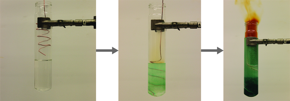 Three photos are shown and connected by right-facing arrows. The left image shows a test tube in a clamp that holds a colorless solution and a wire held above it. The middle image shows a test tube in a clamp that holds a wire submerged in a pale green liquid and emitting a light brown gas. The right image shows a test tube in a clamp that holds a wire submerged in a dark green liquid and emitting a brown gas.