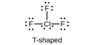 """This Lewis structure shows a chlorine atom with two lone pairs of electrons single bonded to three fluorine atoms, each of which has three lone pairs of electrons. The image is labeled, """"T-shaped."""""""