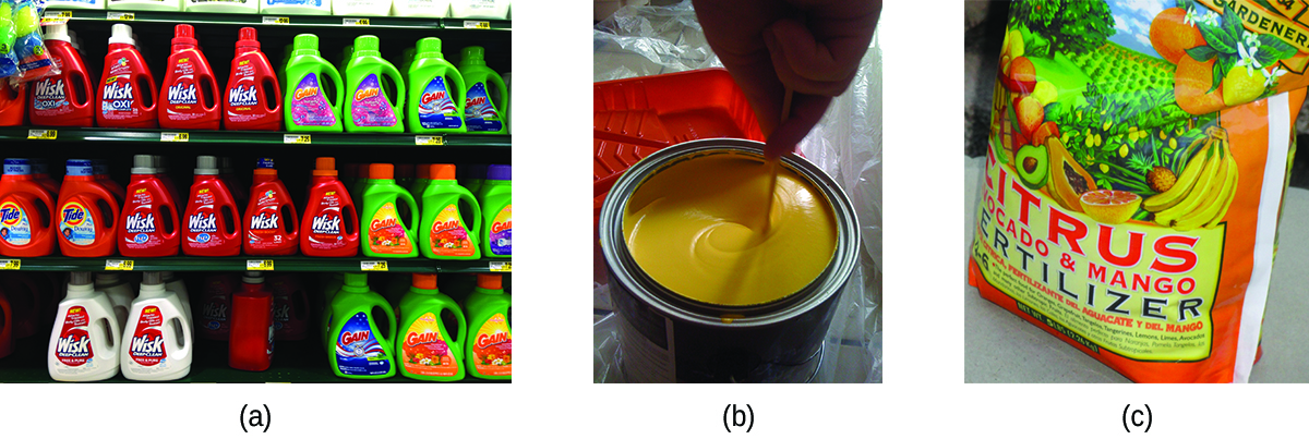 This figure includes three photographs. In a, a photo shows store shelving filled with a variety of brands of laundry detergent. In b, a photo shows a can of yellow paint being stirred. In c, a bag of fertilizer is shown.