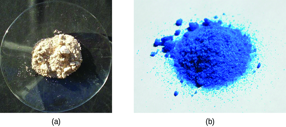Two photos are shown. Photo a on the left shows a small mound of a white crystalline powder on a watch glass. Photo b shows a small mound of a bright blue crystalline powder.