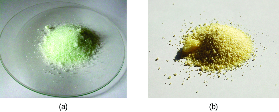 Two photos are shown. Photo a on the left shows a small mound of a white crystalline powder with a very faint yellow tint on a watch glass. Photo b shows a small mound of a yellow-tan crystalline powder.
