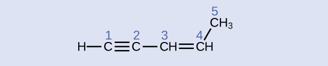 A structural formula is shown with an H atom bonded to a C atom. The C atom has a triple bond with another C atom which is also bonded to C H. The C H has a double bond with another C H which is also bonded up and to the right to C H subscript 3. Each C atom is labeled 1, 2, 3, 4, or 5 from left to right.
