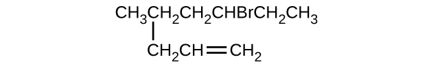 This structure shows a hydrocarbon chain composed of C H subscript 3 C H subscript 2 C H subscript 2 C H B r C H subscript 2 C H subscript 3 with a C H subscript 2 C H double bond C H subscript 2 group attached beneath the second C atom counting left to right.