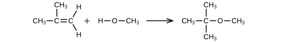 A reaction is shown. The first molecule is a C atom bonded to another C atom. The first C atom (from left to right) is bonded to two C H subscript 3 groups. The second C atom is bonded to two H atoms. There is a plus sign. The next molecule shows an H atom bonded to an O atom bonded to a C H subscript 3 group. There is an arrow pointing right. This molecule shows a C atom bonded to three C H subscript 3 groups. The C atom is also bonded to an O atom which is also bonded to a C H subscript 3 group.